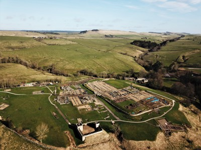 Aerial view of Roman Fort Vindolanda looking towards Hadrian