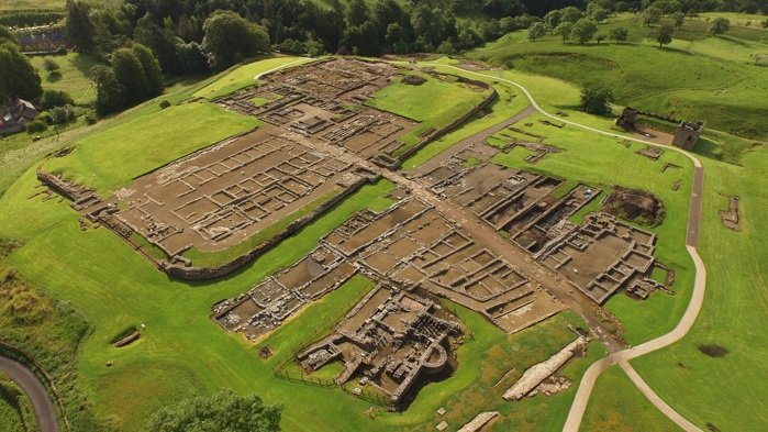 Aerial View of ancient monument Vindolanda Roman Fort