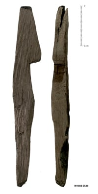 Roman Tent peg - wooden peg with notch to hold rope