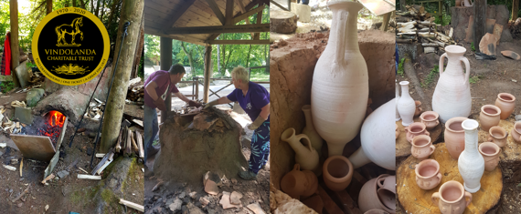 Series of pictures showing replica roman pottery kiln and pots
