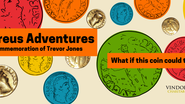 Multi coloured coin images with the word Aureus Adventures in commemoration of Trevor Jones. Writing competition