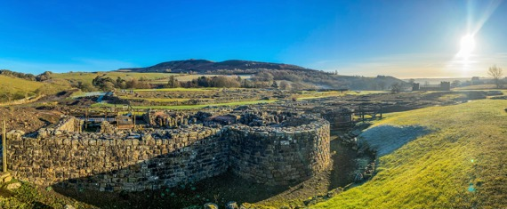 View of Vindolanda over the 3rd century Roman bath house