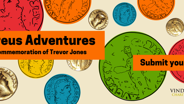 Title image with colourful coins and image of real coin - Aureus adventures  - Submit your story