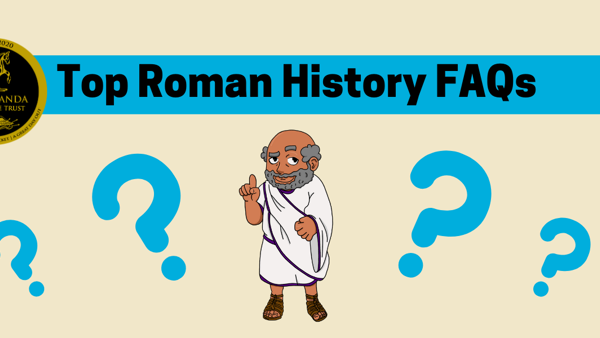 Roman History FAQs - Cartoon Hadrian and question marks