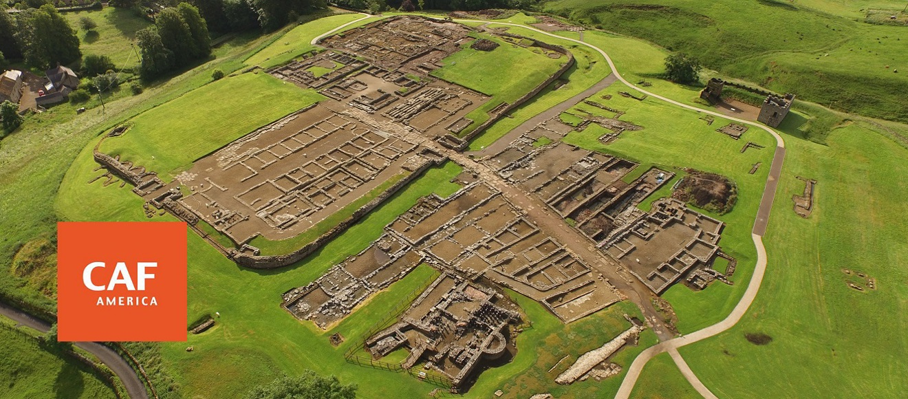 Aerial view of Vindolanda with CAF logo